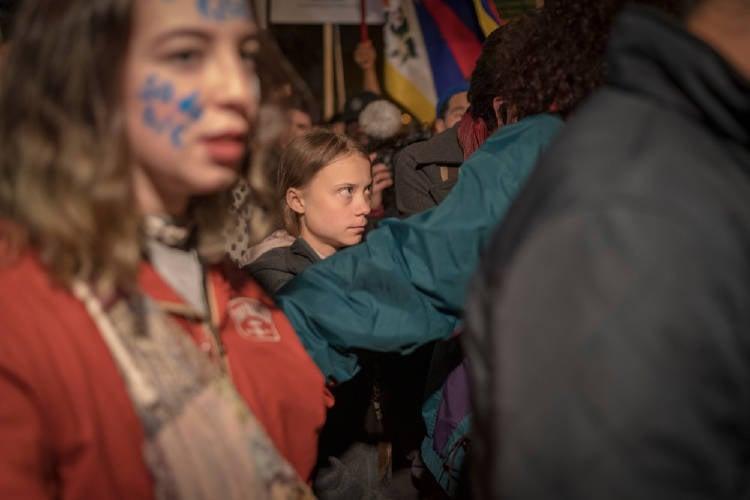Greta Thunberg en la huelga por el clima