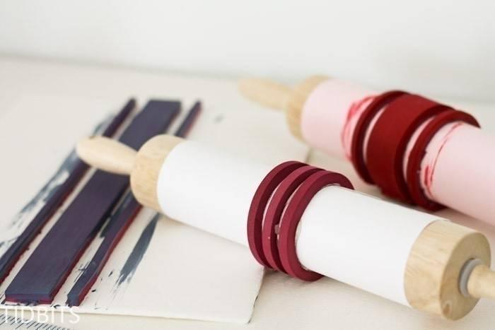 Truco para estampar una tela con un rodillo o palote de cocina