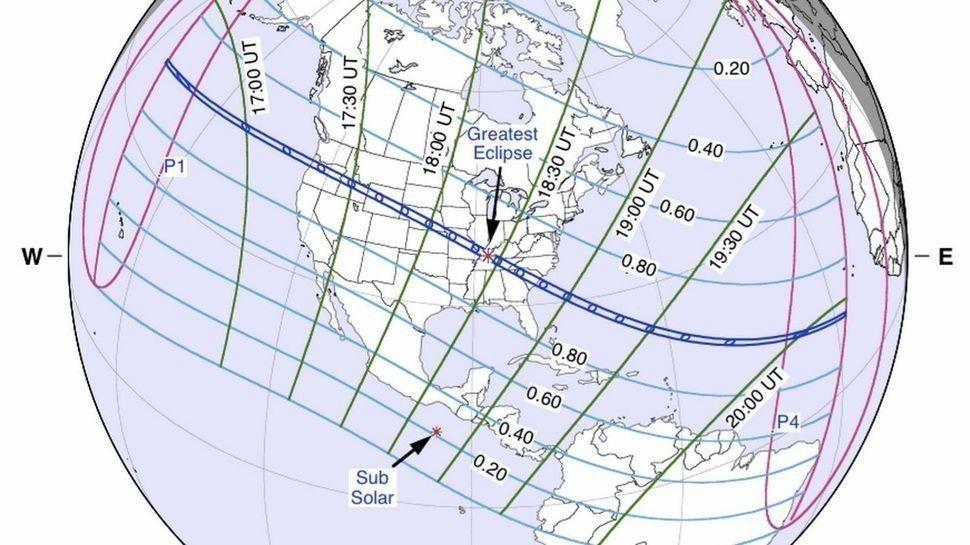 trayectoria del eclipse solar de agosto 2017