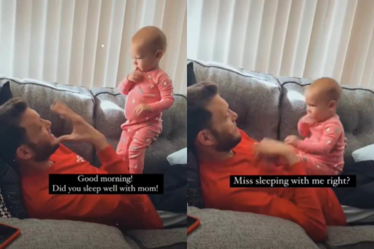 """Bebé de 1 año dice su primer """"Hola"""" en lenguaje de señas a su padre sordo"""