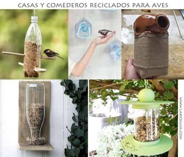 Casa de pájaros con botellas de plástico