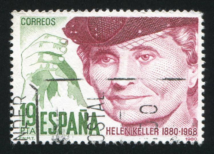 Una estampilla con el rostro de Helen Keller