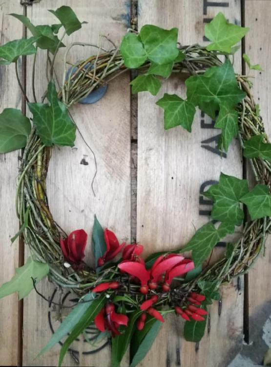 corona de flores para navidad