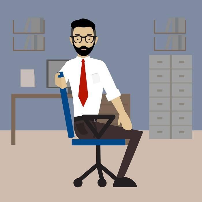 hombre estiramiento oficina