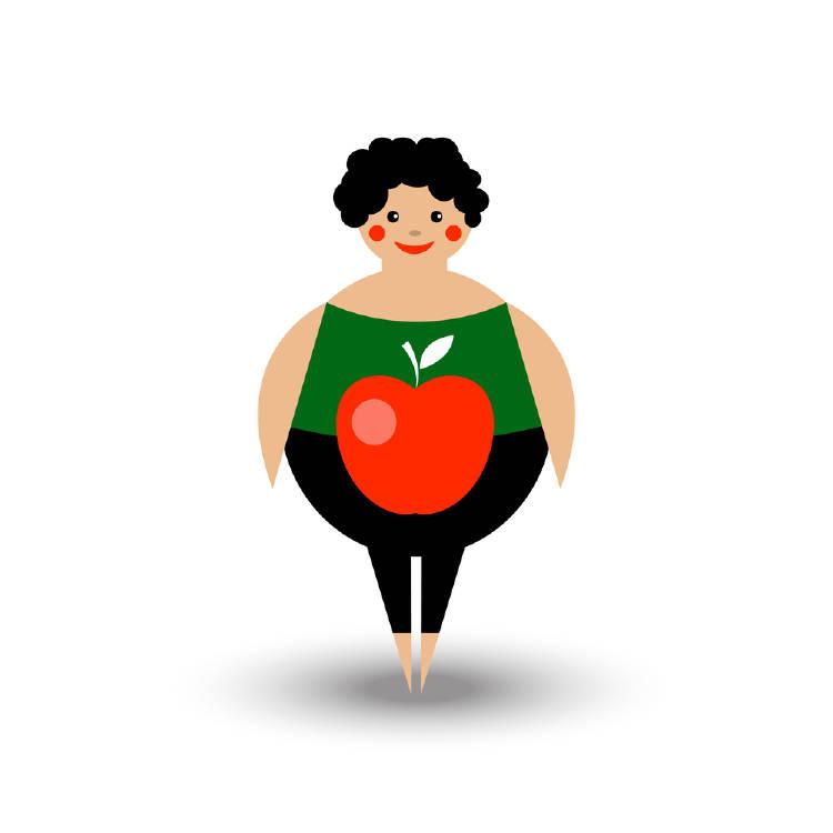 mujer cuerpo de manzana