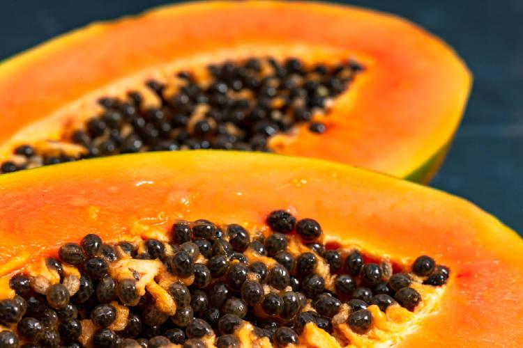 papaya con semillas pepitas de papaya