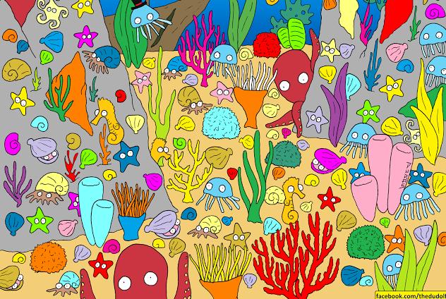 Un desafío visual bajo el mar: ¿dónde está el pececito?