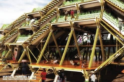 Huertos verticales de bambú producirían alimento para 3 mil millones de pers..