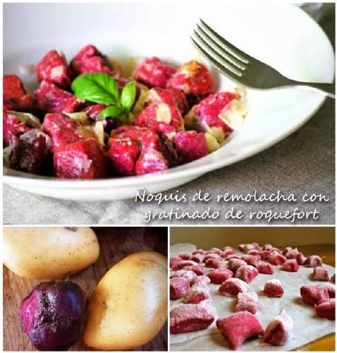 Ñoquis de remolacha con gratinado de roquefort