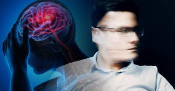 hombre con dolores de cabeza recurrentes, concepto de jaqueca o migraña