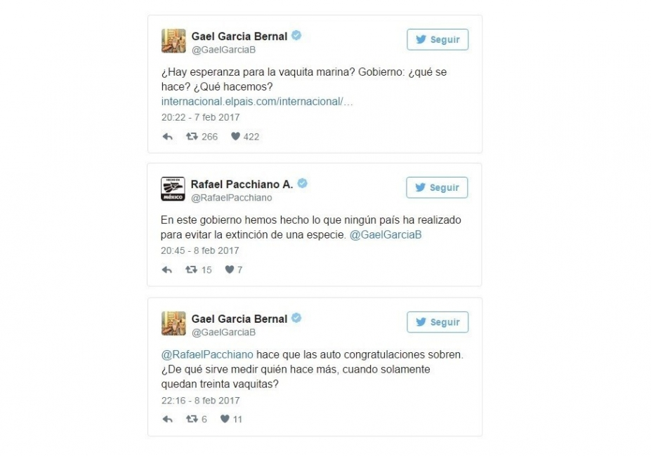 Tweets de Gael García sobre la Vaquita Marina
