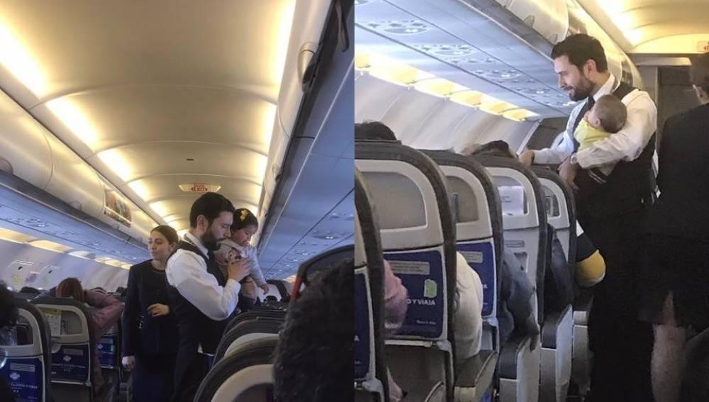 Las más tiernas imágenes en un avión: este bebé no dejaba de llorar y esto..