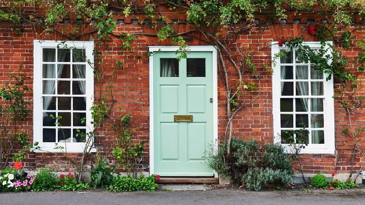 puerta de entrada con plantas