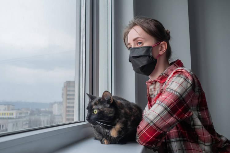 mujer ventana gato barbijo