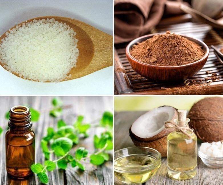 bálsamo labial casero de chocolate y menta- ingredientes y materiales