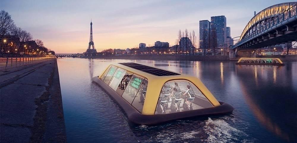 Un gimnasio flotante que utiliza energía humana para navegar por París