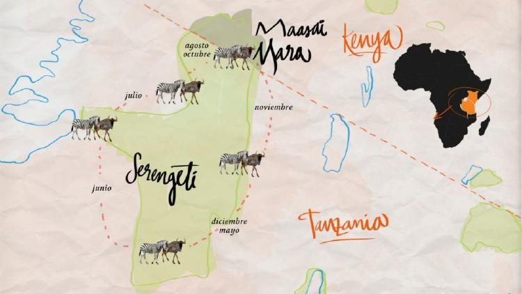 Mapa de la Gran Migracion en el Serengeti