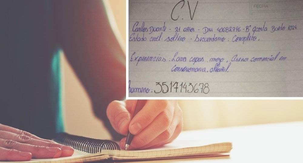 Un joven presentó su currículum escrito a mano y su historia se volvió viral