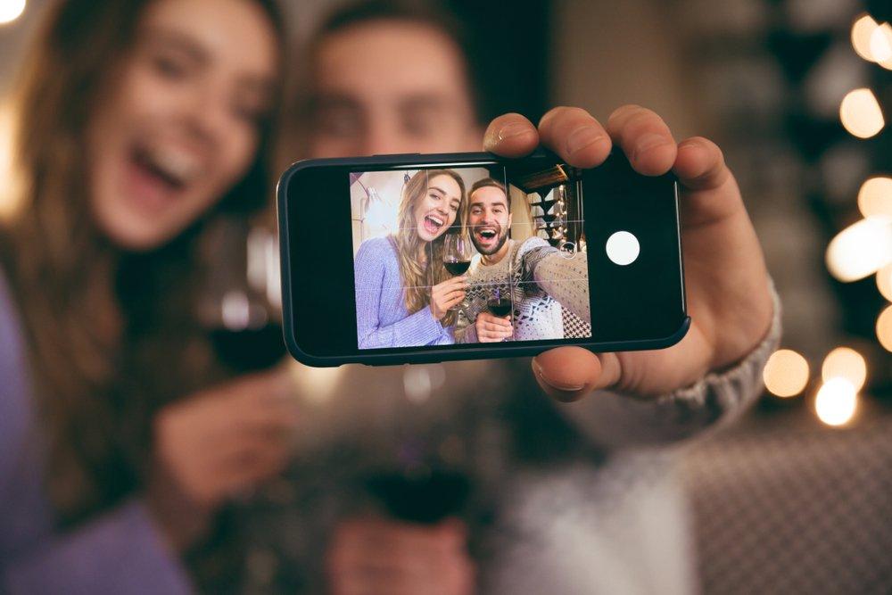 pareja selfie