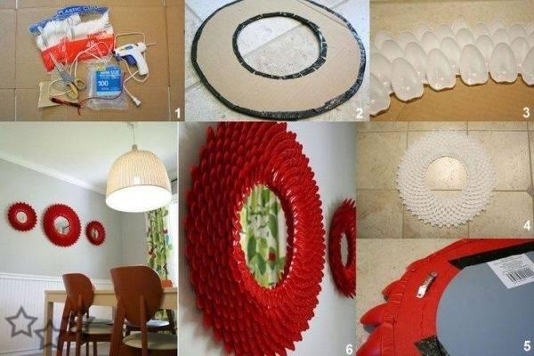 5 marcos para espejos con objetos reutilizados