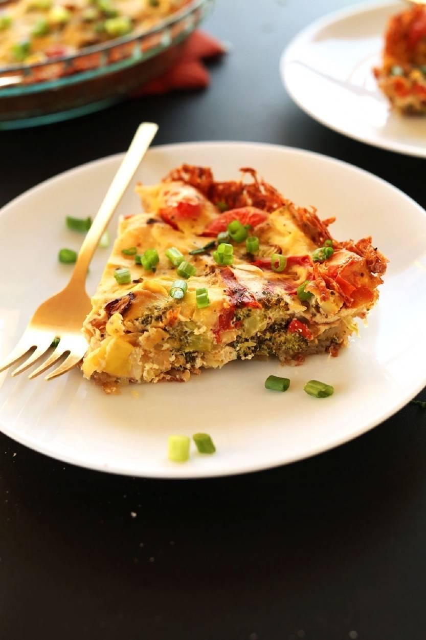 Tarta salada de tofu y vegetales asados