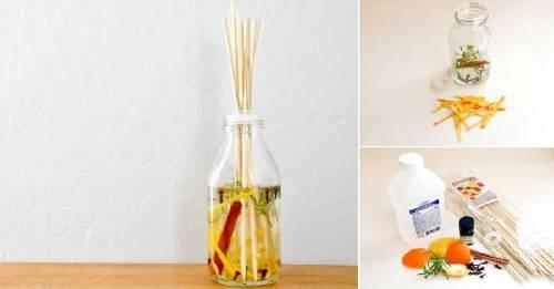 Haz un difusor aromático con cáscaras de cítricos y restos de hierbas
