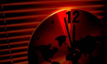reloj del apocalipsis se encuentra cerca de la medianoche, el fin del mundo