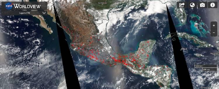 Imagen satelital de la NASA de los incendios en México