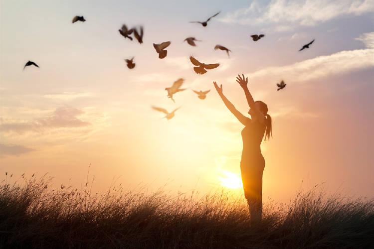 pajaros vuelan alrededor de una mujer al aire libre