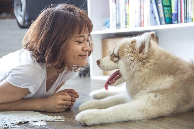 Una mujer recostada en el piso con su mascota