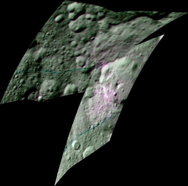 El color rojo o rosado indica la existencia de materia orgánica en Ceres