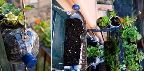 Cómo hacer una huerta vertical con botellas