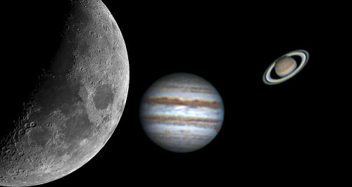 La conjunción de la Luna, Júpiter y Saturno, será visible esta noche