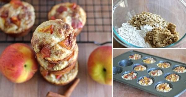 Muffins de durazno y avena con cobertura de azúcar y canela
