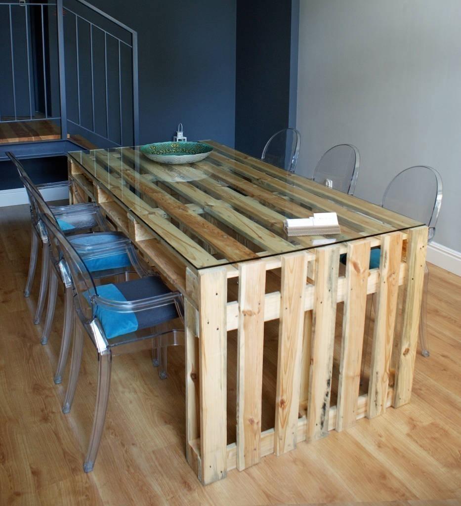 C mo hacer una mesa para el comedor con pallets de manera for Como hacer una mesa de comedor