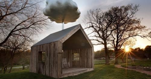 """Una """"casa nube"""" que recoge el agua de lluvia para recordarnos algo que solemos.."""