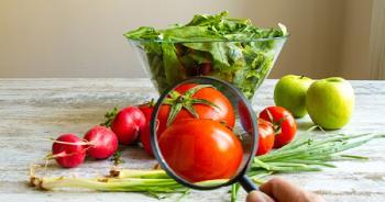 Alimentos, verduras y lupa