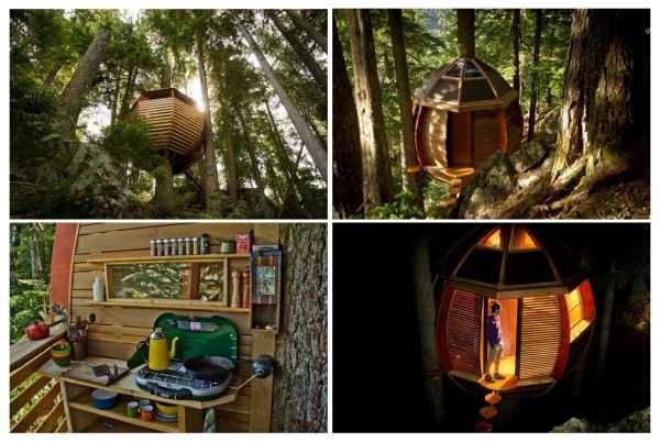 La casa-árbol oculta en los bosques de Canadá
