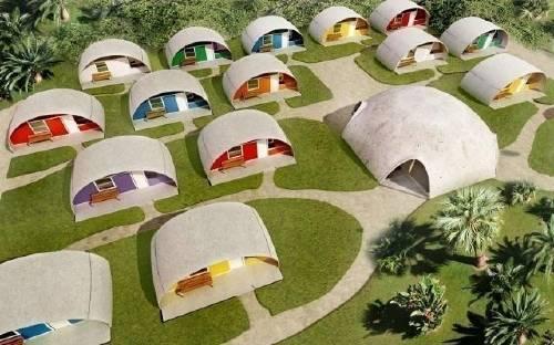 """Domos de """"hormigón inflable"""": sorprendentes y económicas casitas resistentes.."""