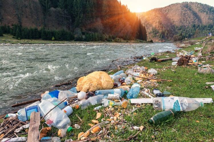 basura y desechos plasticos contaminan la orilla del rio