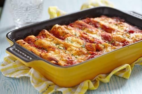 Canelones vegetarianos de zanahoria y ricota