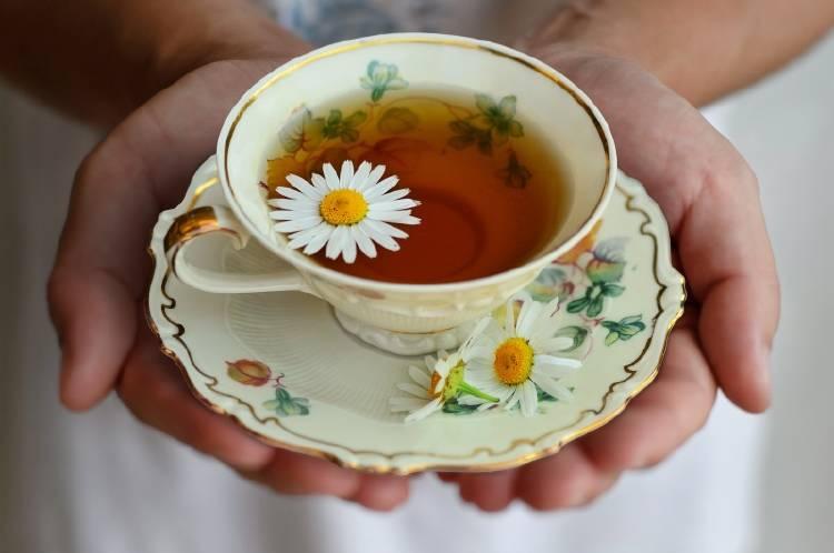 Una persona sostiene en sus manos una taza de té de manzanilla