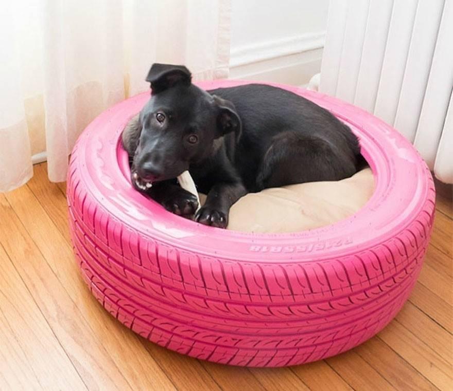 Haz una cama para tu mascota con un neumático reutilizado