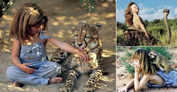 La adorable infancia de una niña que creció junto a animales africanos