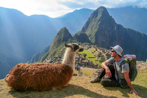 Un turista con una llama en el Machu Picchu
