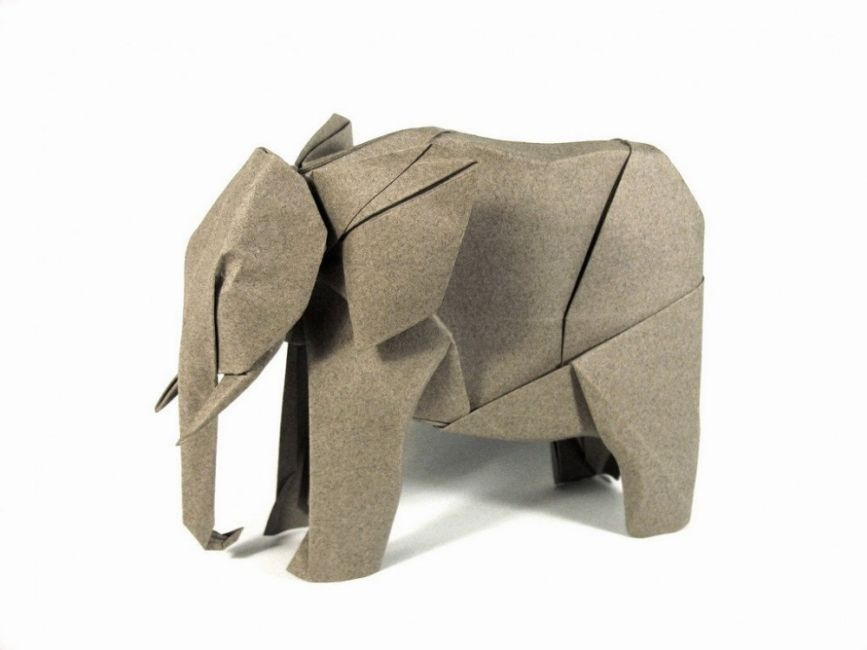 Los increíbles origamis de Nguyen Hùng Cuong- elefante
