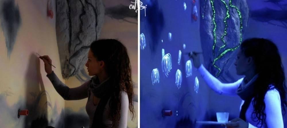 Murales mágicos que brillan en la oscuridad
