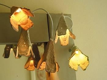 Pantallas para lámparas con cajas de huevos de cartón