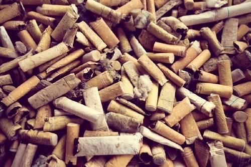 Un ladrillo hecho de colillas de cigarrillo