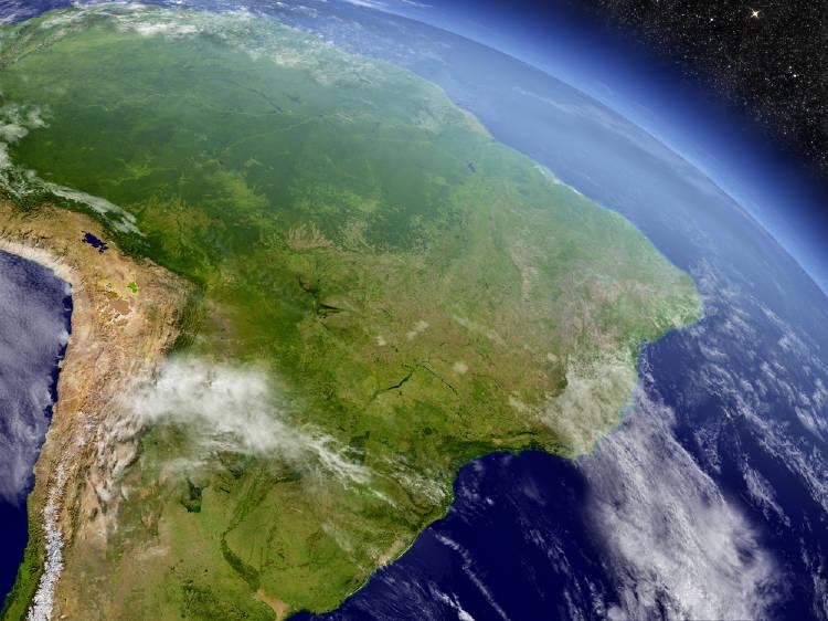 Imagen de la Tierra enfocada en el Amazonas